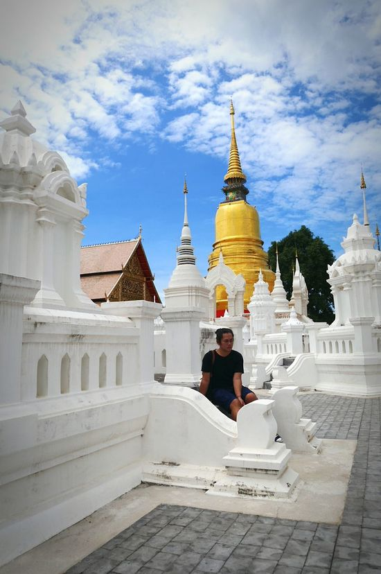 Chaing Mai Religion Temple - Building Sky Cloud - Sky Day Local Landmark Leisure Activity Building Exterior Outdoors Lifestyles Religion Spirituality Architecture Place Of Worship Built Structure Full Length Lifestyles Building Exterior Leisure Activity Temple - Building Sky Mosque Casual Clothing Day