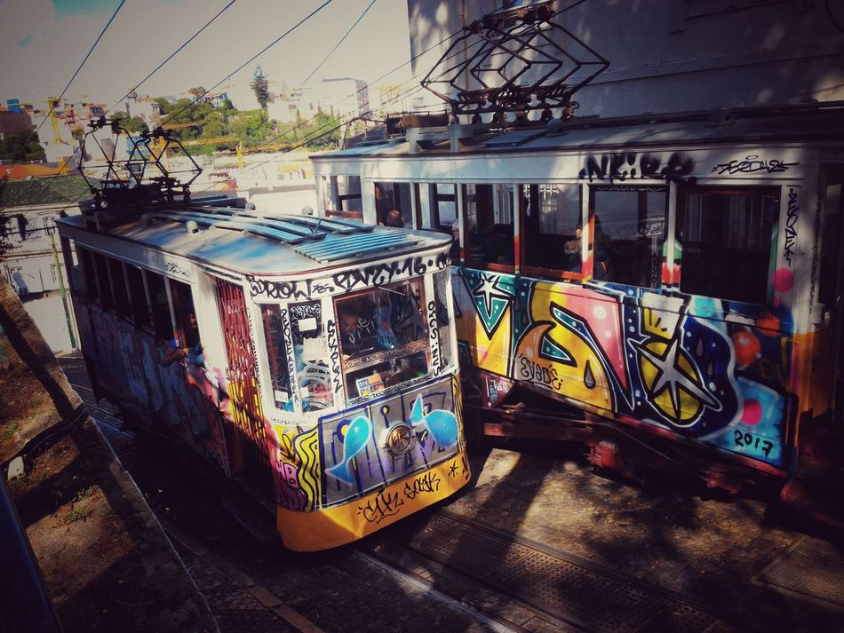 Graffiti Multi Colored Street Art Cable Car Light And Shadow Art Is Everywhere Check This Out Taking Pictures