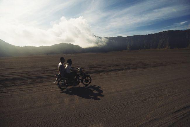 Adventurer. Adventure Motorcycles Landscape Mount Bromo, East Java - Indonesia Bromo