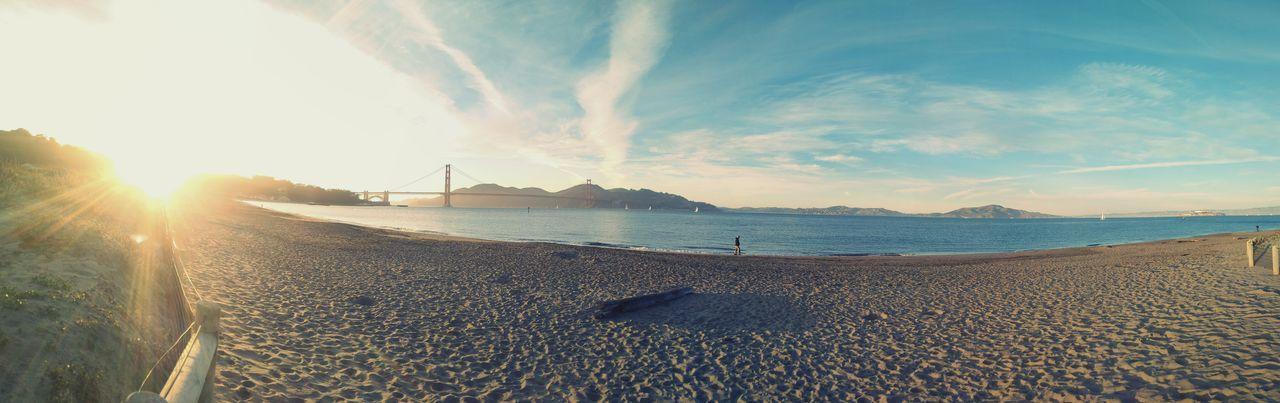 Golden Gate Bridge San Francisco Holidays Beach Nature Sky Water Sunset Beautiful