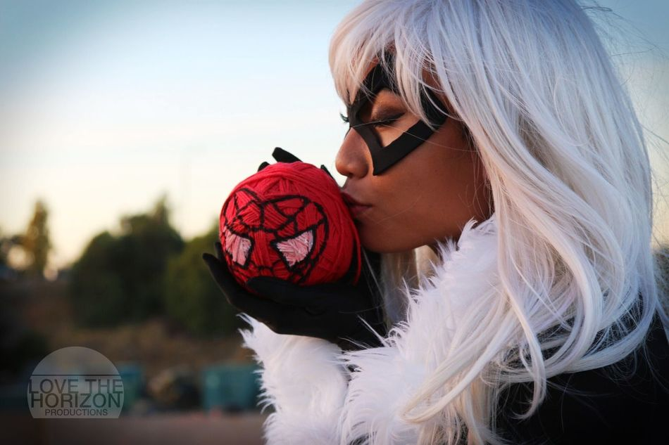 """""""Thank you Spider-... Peter, whatever you call yourself. For taking your mask off and reminding me... It's never too late to figure out who you really are."""" - Black Cat LovetheHorizonProductions Cosplay Cosplayer Black Cat Spiderman Marvel Comic Character White Hair Costume Heroine Yarn"""