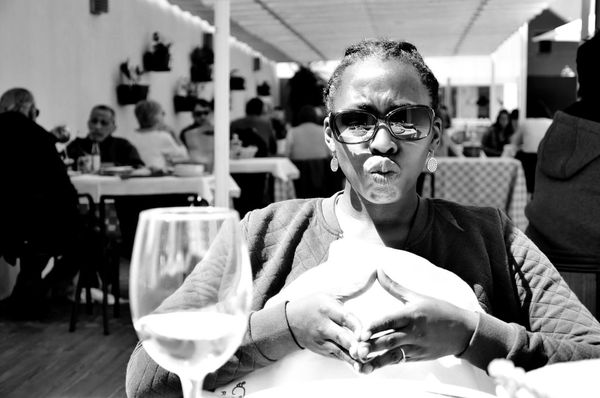 duckface_bw Scanaki Check This Out Duckface Porto Black And White Friday Cheerful Close-up Day Focus On Foreground Front View Happiness Indoors  Leisure Activity Lifestyles Looking At Camera One Person People Portrait Real People Restaurant Sitting Smiling Table Women Young Adult Eyeglasses