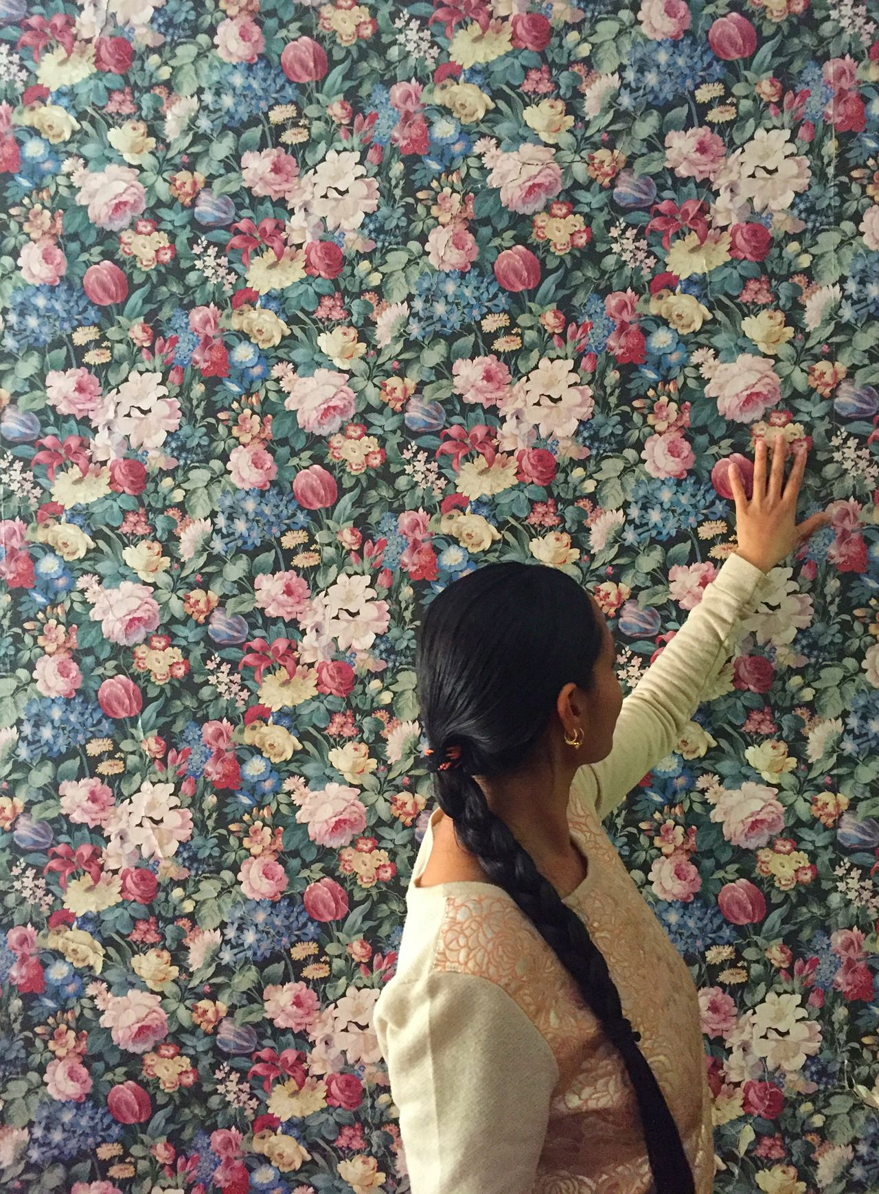 My sister-in-law admiring this colourful wallpaper. Abstract Colourful Colourful Wallpaper Design Floral Pattern Flowers Fun Girl Long Hair One Person One Woman Only Style Wallpaper Woman Woman Portrait Woman Portraiture Women Women Portraits Art Is Everywhere Break The Mold