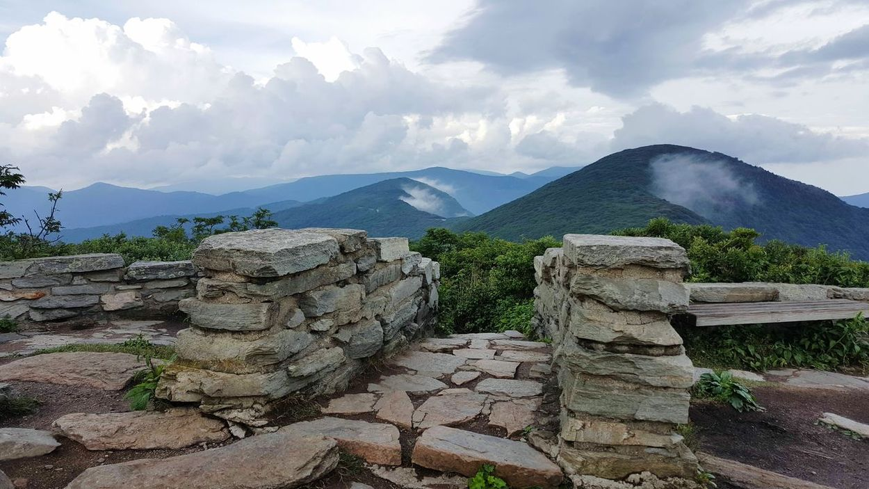 Entrance Path Stone Path Mountain View In The Clouds Vista Hiking Beauty In Nature Lush Green Mountains Clouds And Sky Day Daylight Mountains Blue Ridge Mountains Blue Ridge Parkway North Carolina