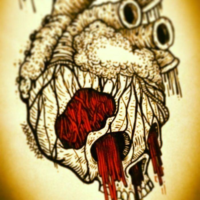 Diseño de un amigo Design Skull Hearth Emi Tattoo