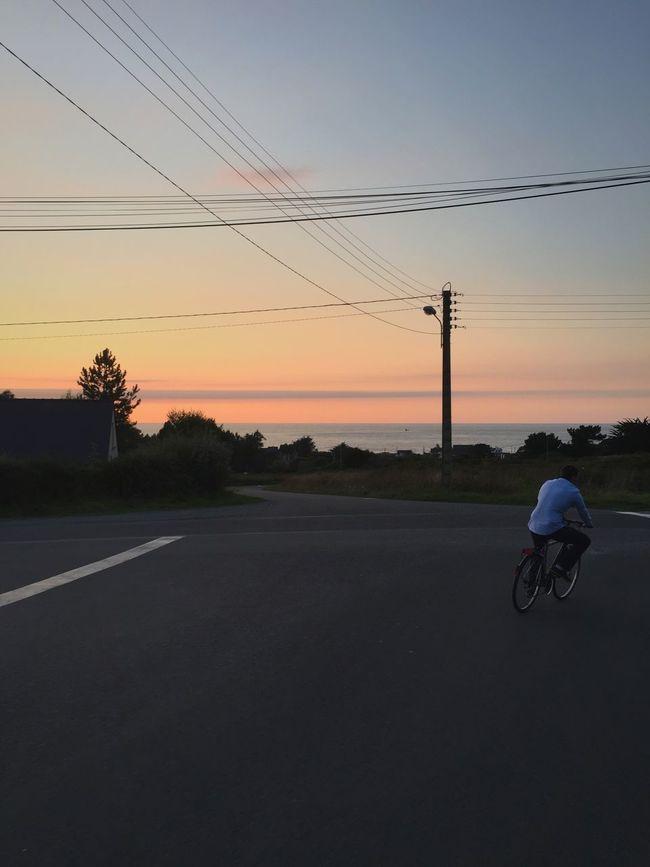 Friend Bike Road Sea Brittany Summer