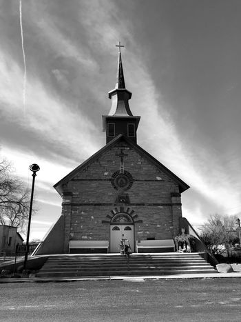 """""""God's House"""" An historic Catholic Church stands in stark contrast to a Winter sky in the tiny Village of Willard, New Mexico. Church Contrast Black And White Photography Black & White Black And White Architecture Religion Built Structure Sky Cloud - Sky Place Of Worship Bell Tower No People Building Exterior"""
