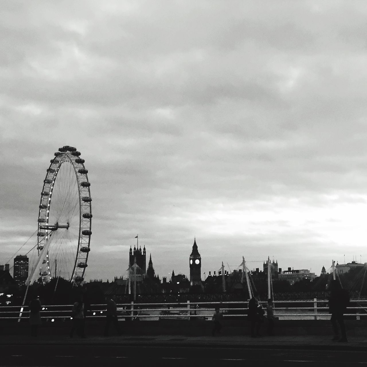 View from Waterloo Bridge. Ferris Wheel City Sky Outdoors No People London Eye Big Ben Elizabeth Tower Westminster Houses Of Parliament Waterloo Bridge London B&w B&w Street Photography Thames Thames River