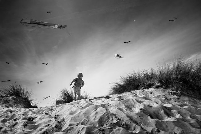 Monochrome Photography sky Kite Boy Sand Grass Freedom Outdoors Day Escape Escape From Reality Blackandwhite Black & White Fujilove Fujifilm