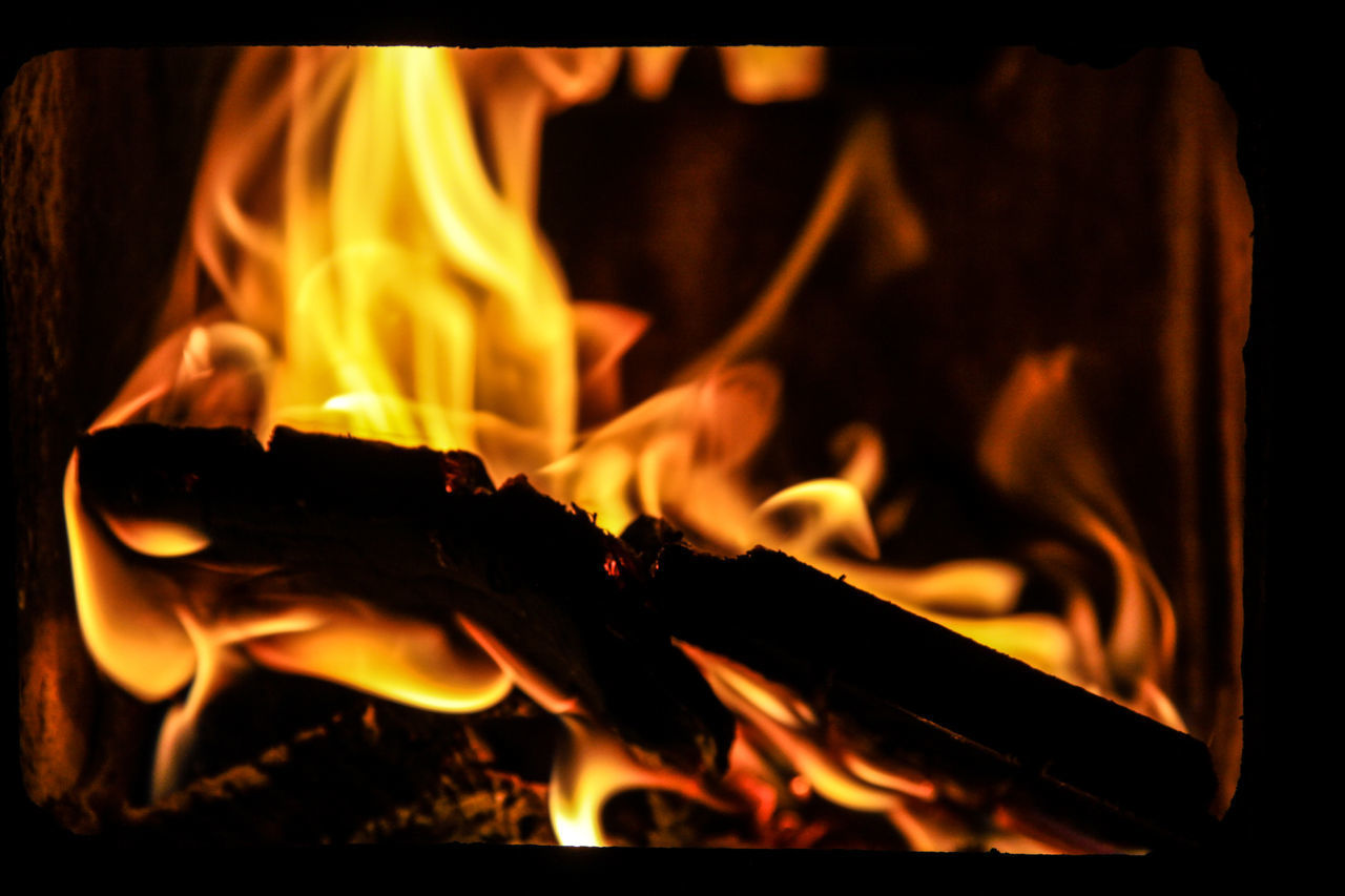Fire - abstract Bonfire Burning Close-up Fire - Natural Phenomenon Flame Glowing Heat - Temperature Motion Night No People Orange Color Outdoors