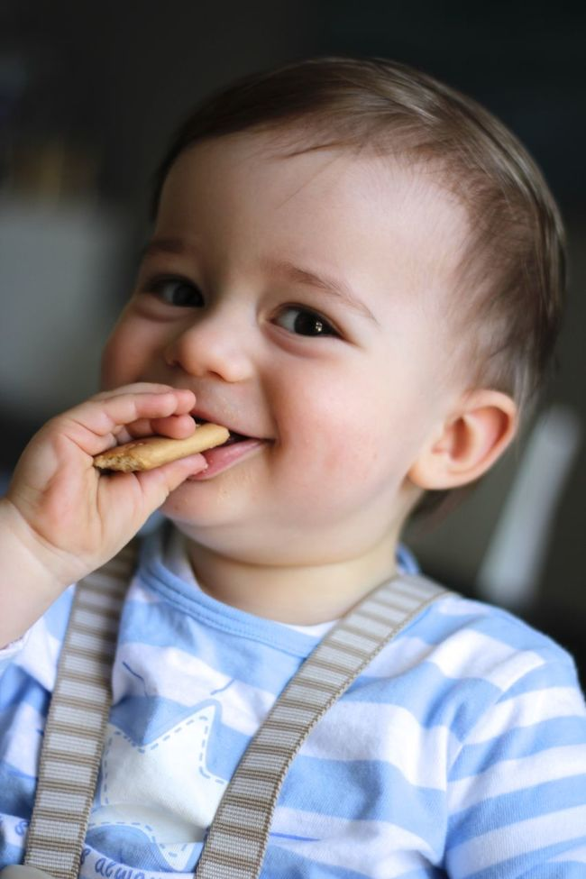 Baby Clothing Casual Clothing Childhood Close-up Cookie Cute Focus On Foreground Front View Happy Headshot Indoors  Innocence Looking Away Person Smiling Toddler