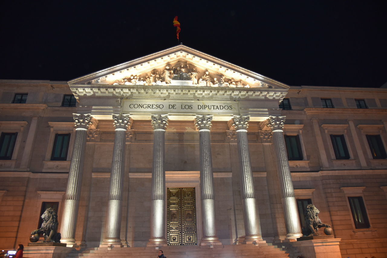 Architecture Congreso De Diputados Illuminated Historical Building Political Street Art