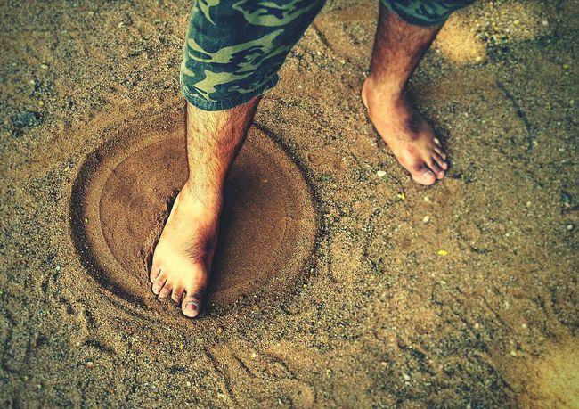 Childhood fun in sand... Sand Sandy Beach Sand Art Sandy Feet Feet Circle CIRCLE Of LIFE Circle In Sand Circular Hairy Legs  Sand Grains Playing In The Sand Childhood Memories Childhood Q Photography In Motion First Eyeem Photo