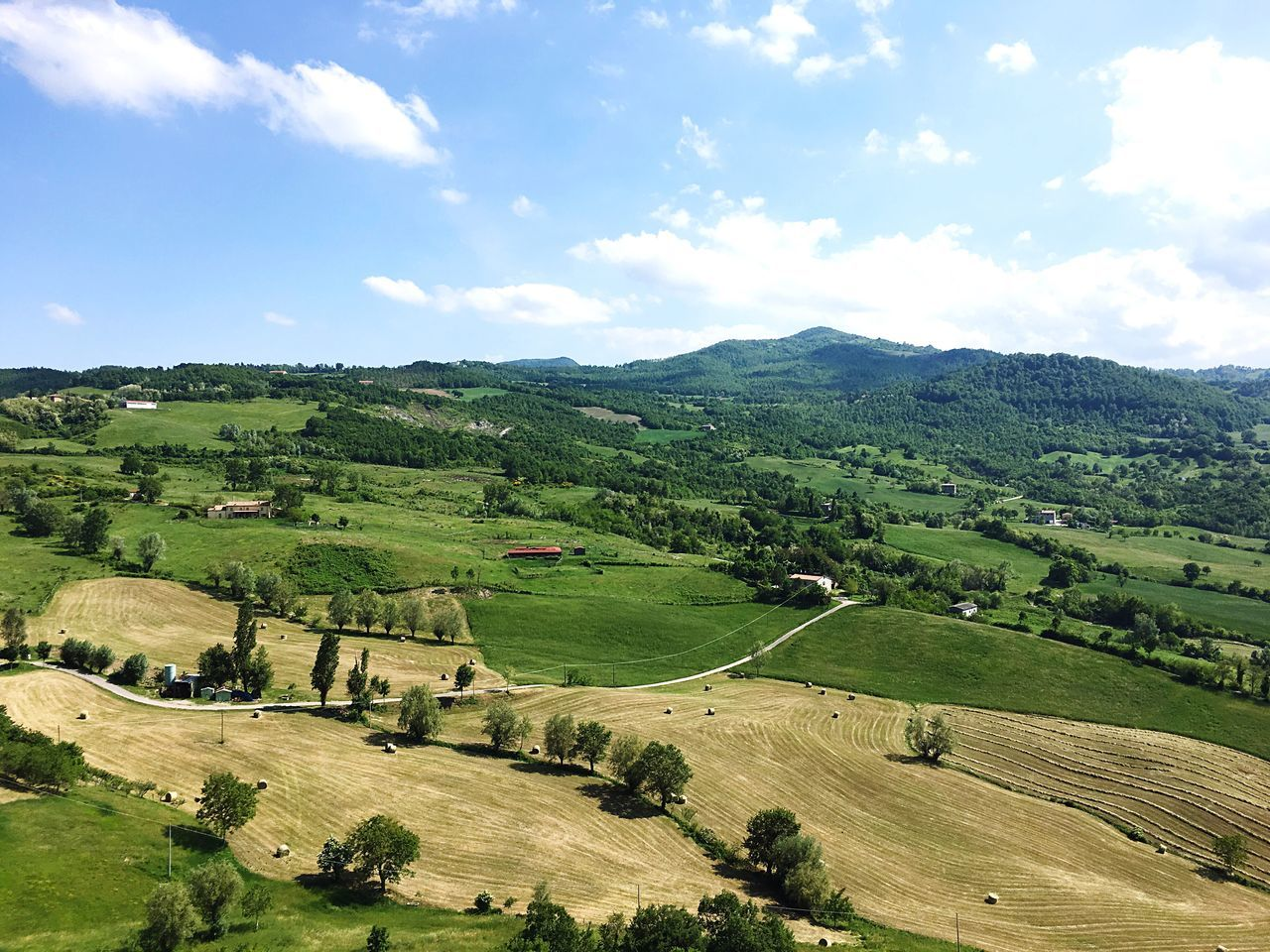Landscape Beauty In Nature Tranquil Scene Agriculture Nature Scenics Tranquility Field Sky Day Rural Scene No People Cloud - Sky Outdoors Tree Mountain Montefeltro San Leo