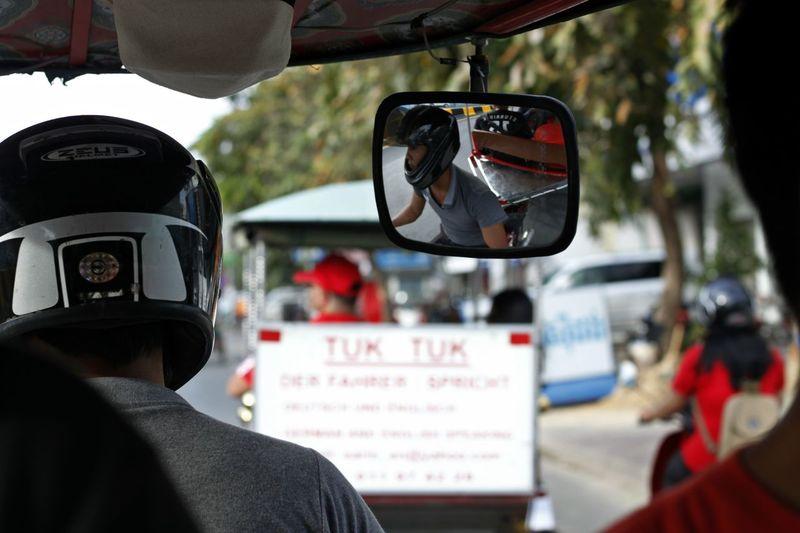 Adult Adults Only Car Close-up Day Mirror Mirror Reflection Mirror Reflections Outdoors People Phnom Pehn, Cambodia Phnom Penh Real People Transportation Tuk Tuk Tuk Tuk Driver Tuk Tuk In Phnompenh Tuk-tuk TukTuk Tuktuk Streets Tuktukdriver Two People