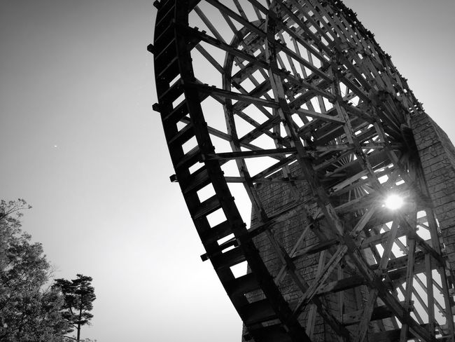 Low Angle View Sky Waterwheel Big Wheel Large Monochrome Photography