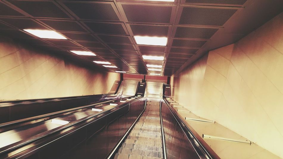 Indoors  Illuminated Architecture Transportation No People Escalator Moving Stairs Moving Staircase Moving Stairway Station Train Station Train Hurry Fast Fast Life Empty Silent Unusual Late