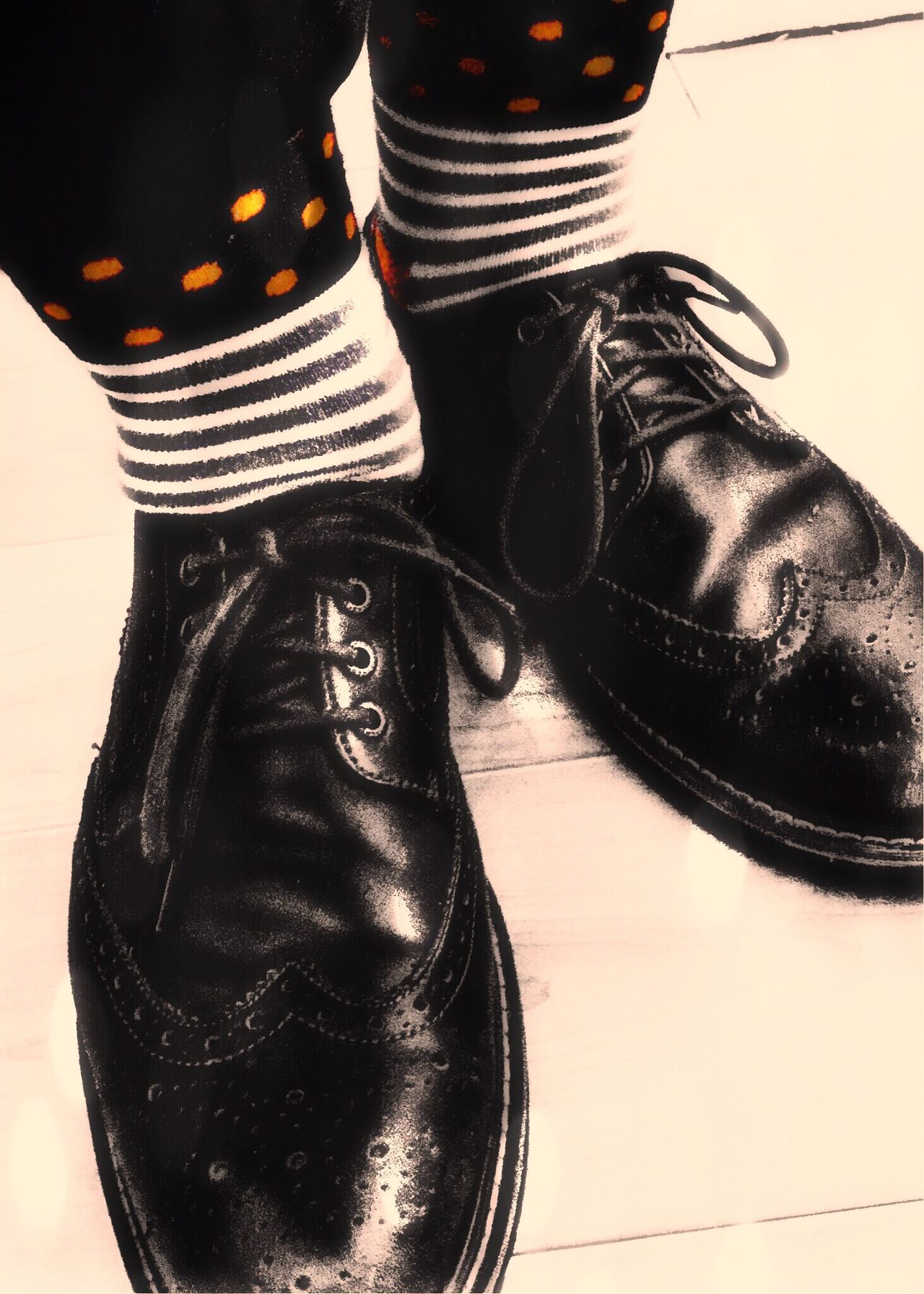 Wingtips Shoes Socks Polkadots Stripes Pattern Shoe Human Leg Human Body Part Real People Low Section Close-up One Person TK Maxx Socksie Men Pair Day Standing Goofing Off Eclectic Sharp Dressed Ankles Reveal Revealing Leather Shoes Dress Shoes