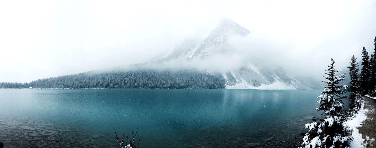 The Mist at Lake Louise. Lakelouise Banff National Park  Explorecanada Explorealberta Scrambling Hiking FairmontHotel Lot71camera