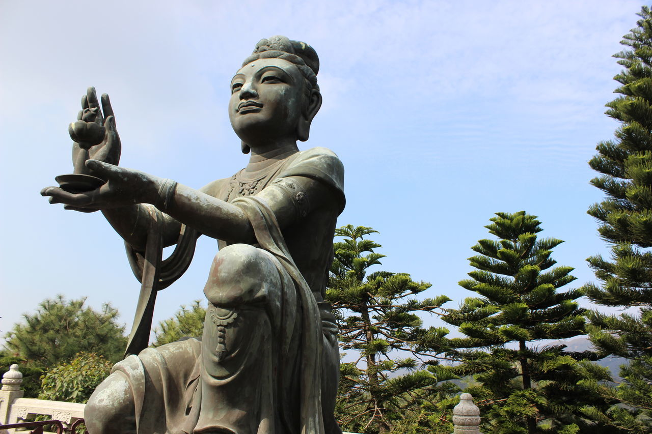 Statue Religion Human Representation Art And Craft Low Angle View Spirituality Sculpture Symbol Smiling No People Sky Outdoors Idol Day Place Of Worship Tian Tan Buddha (Giant Buddha) 天壇大佛 Beauty In Nature Architecture Travel Destinations HongKong Travel Photography Cloud - Sky Statue