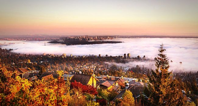 Capture The Moment Foggy Sunset Landscape Vancouver BC Fall Foggy Weather Downtown Highrise Canada
