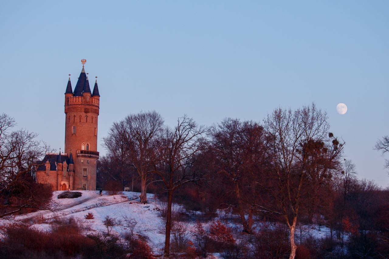 Architecture Babelsberg Babelsberger Park Flatow Tower Flatowturm Historical Building Moon Moon Shots Moonrise Moonrising Outdoors Potsdam Sightseeing Snow Sunset Sunsets Tourist Attraction  Winter