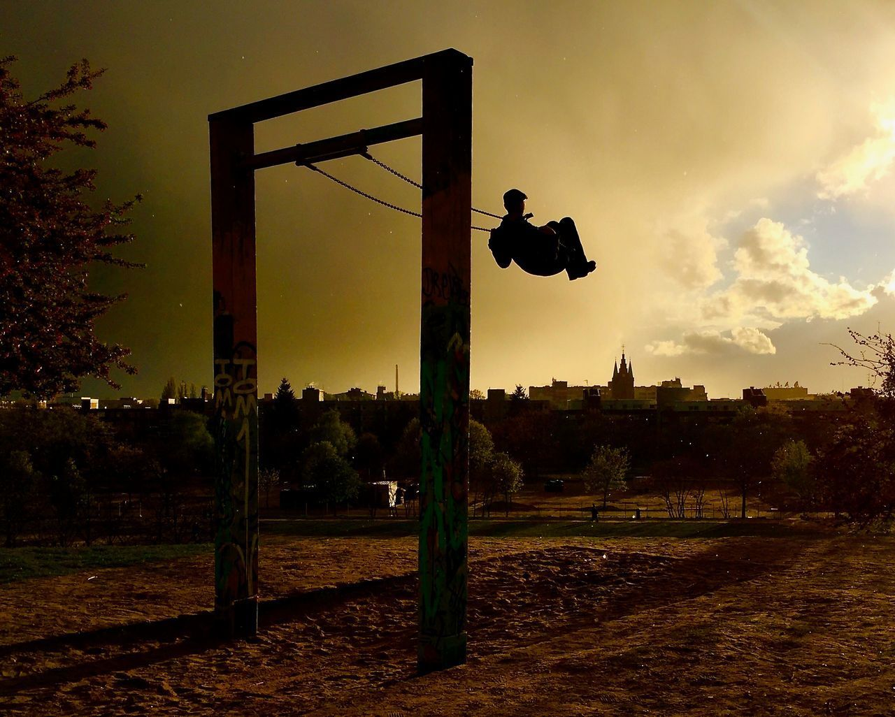 Calmness City Living Evening Sky Field Full Length Movement Nature Outdoors Park Peaceful Moment Shadows & Lights Silhouette Sky Sunset Swinging Tree Backgrounds