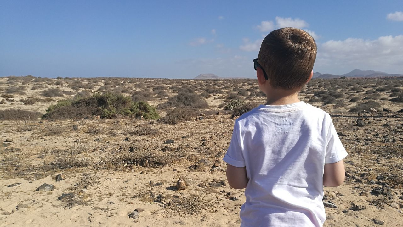 Child Sand Childhood Desert One Person Rear View One Boy Only Sky Landscape People Males  Boys Day Outdoors Nature Standing Canary Islands