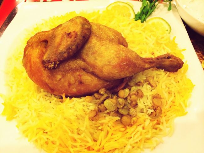 Kuwaiti food Majboos Chicken at majboos time restaurant Kuwait
