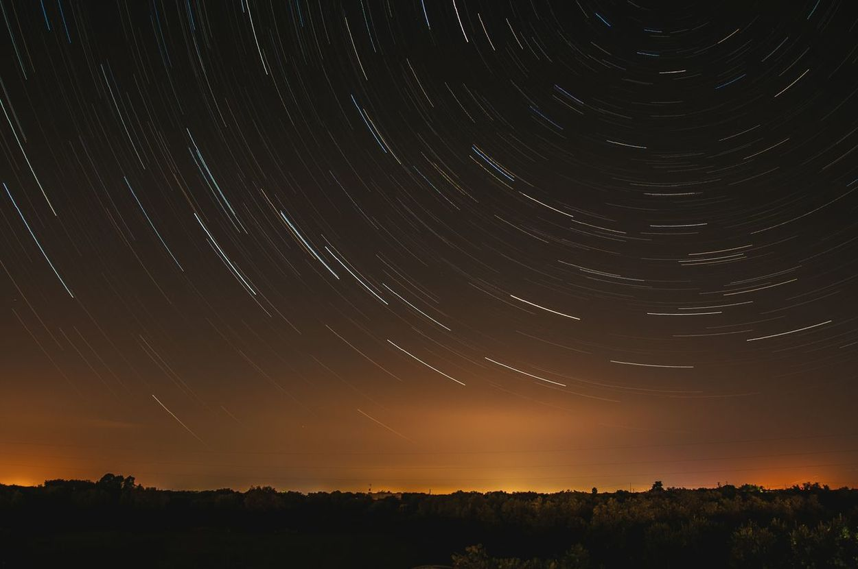 Up & up, & up. Star Trail Star Sky Night Sky Night Landscape Italy Orange Color Movement Rotation