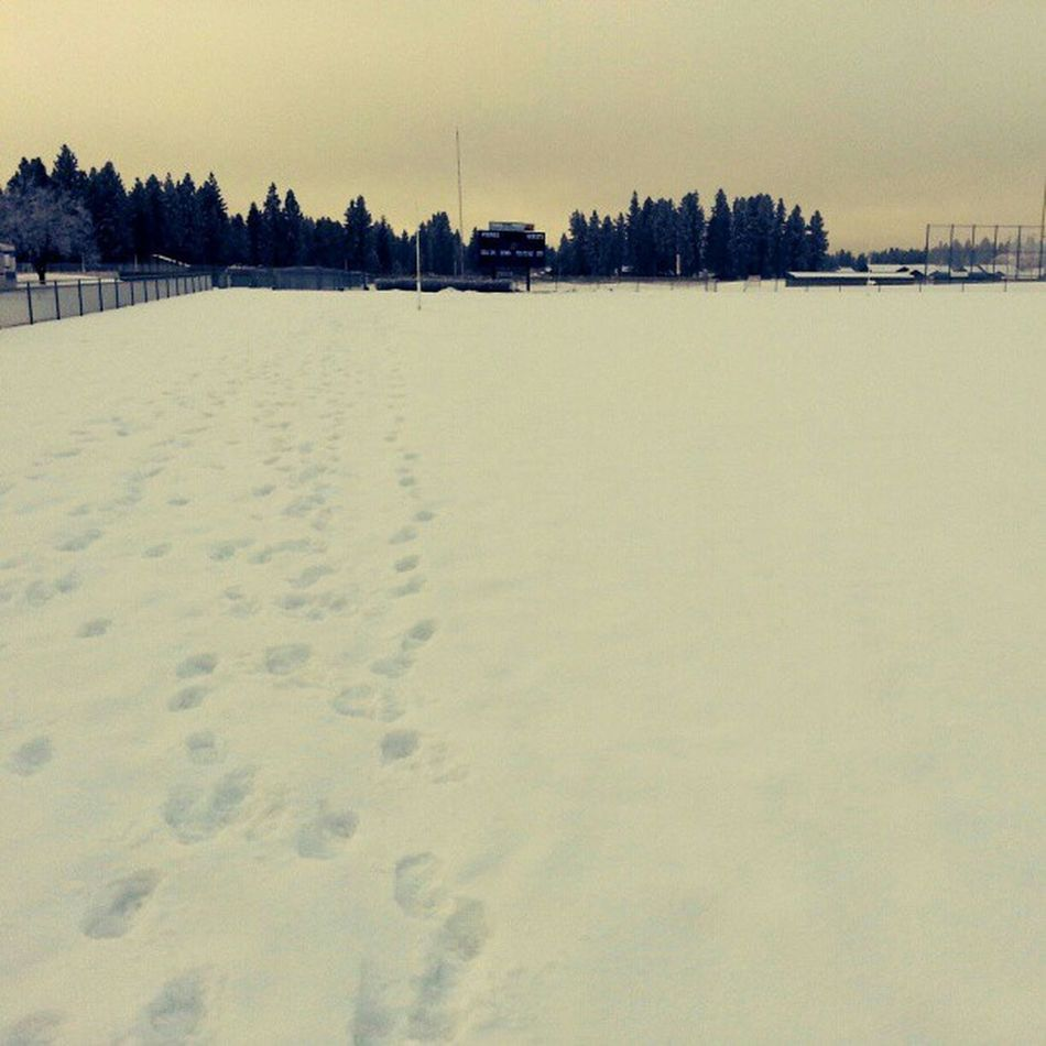 2mi 18degrees unplowed Snow at the Track Cardio done Running Noexcuses MakeItHappen
