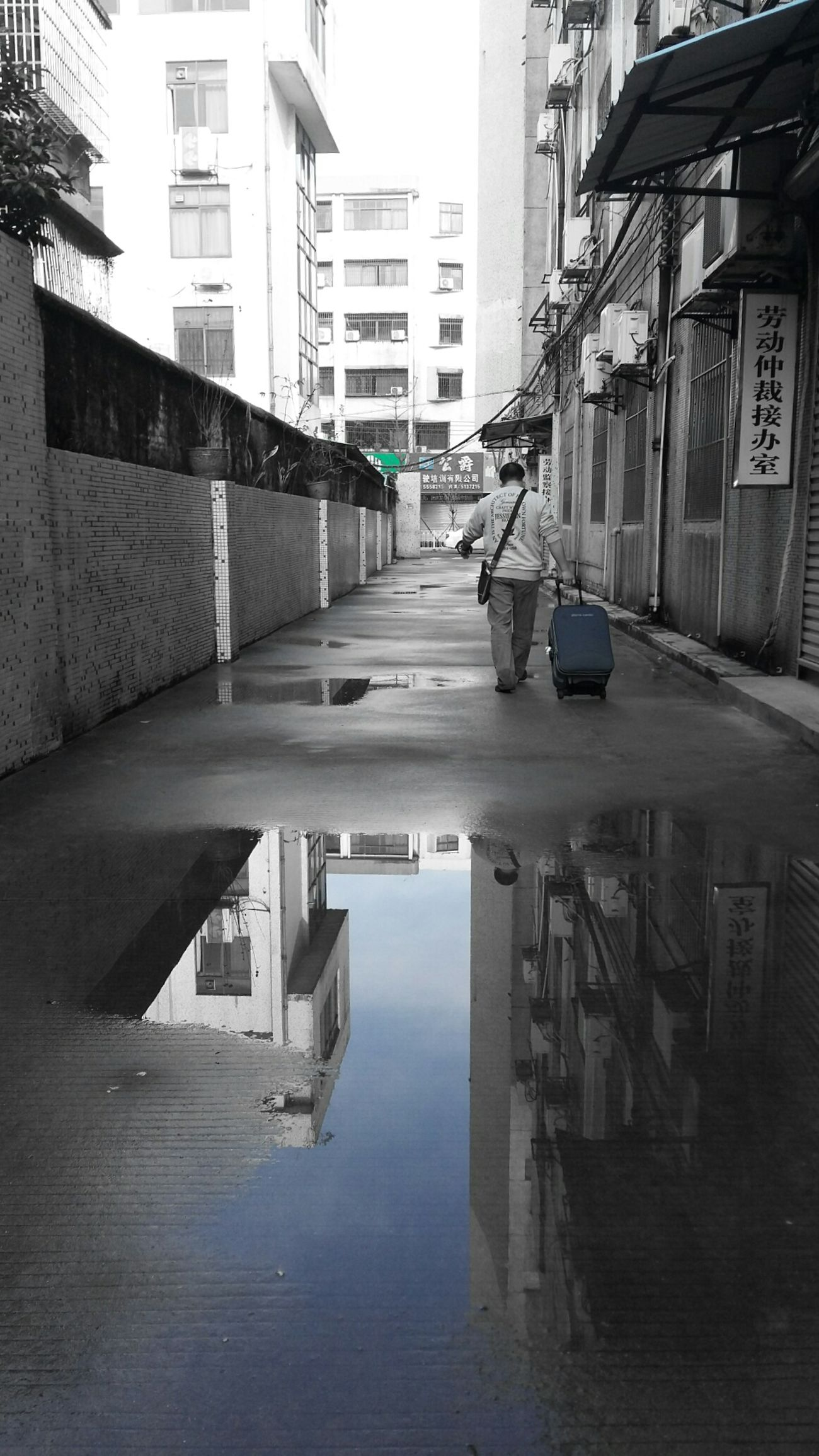 Architecture Built Structure Building Exterior City Reflection Water City Life Sky Day One Person You Can Turn Around Your Phone Black & White Blue Sky Rainny Day - Zhuhai China Welcome To Black