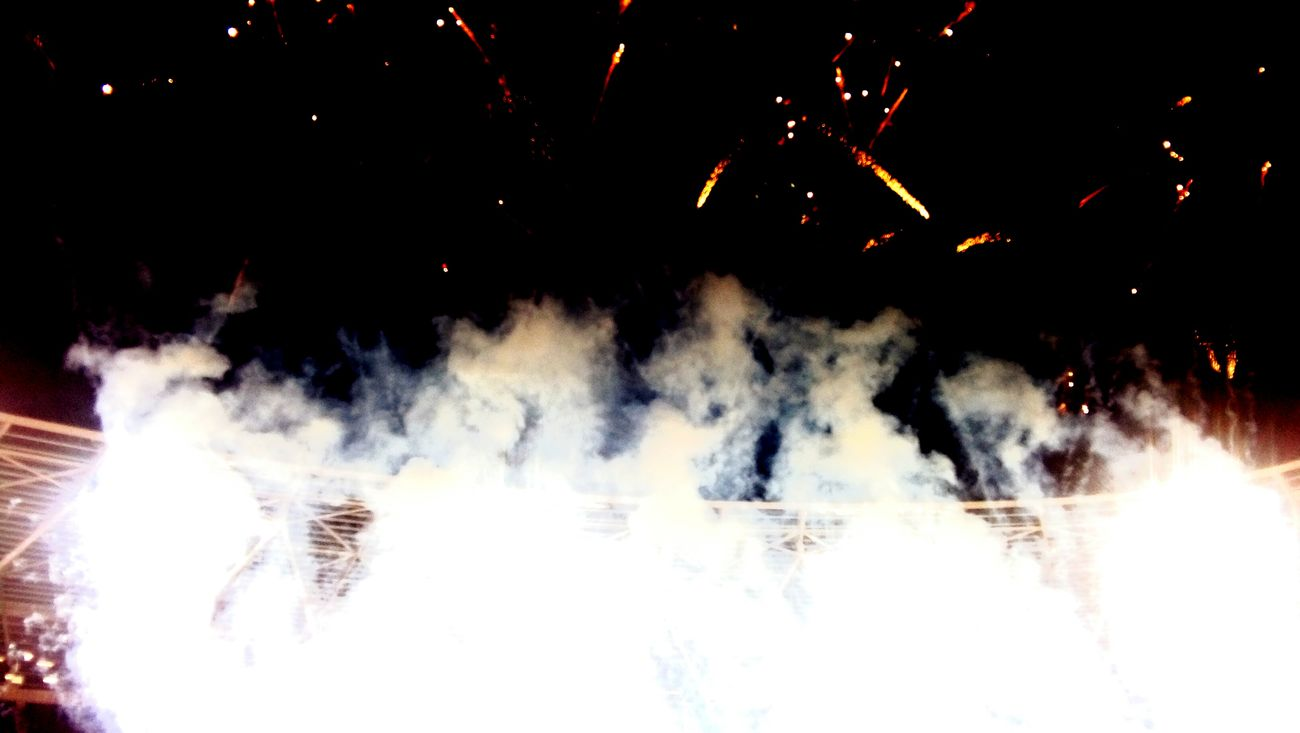 Smoke - Physical Structure Arts Culture And Entertainment Igniting Heat - Temperature No People Night Outdoors Olympic Stadium Olympics Olympic Athletics
