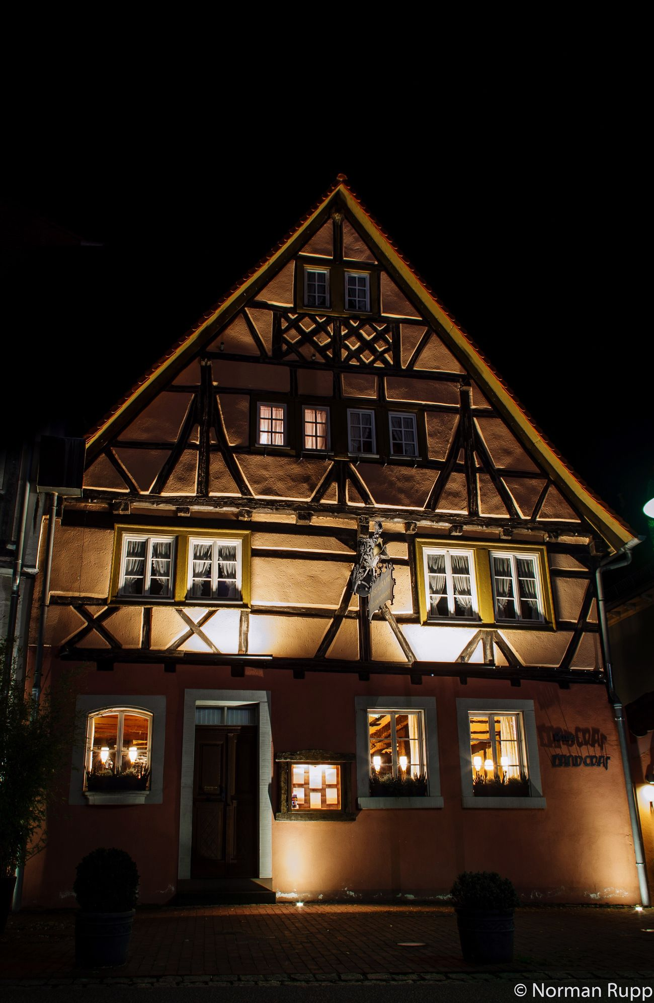 Restaurant Landgraf in Walldorf Badenwürttemberg Germany . Building Old Buildings Sap Travel Long Exposure Night Dark Normanrupp Pentax