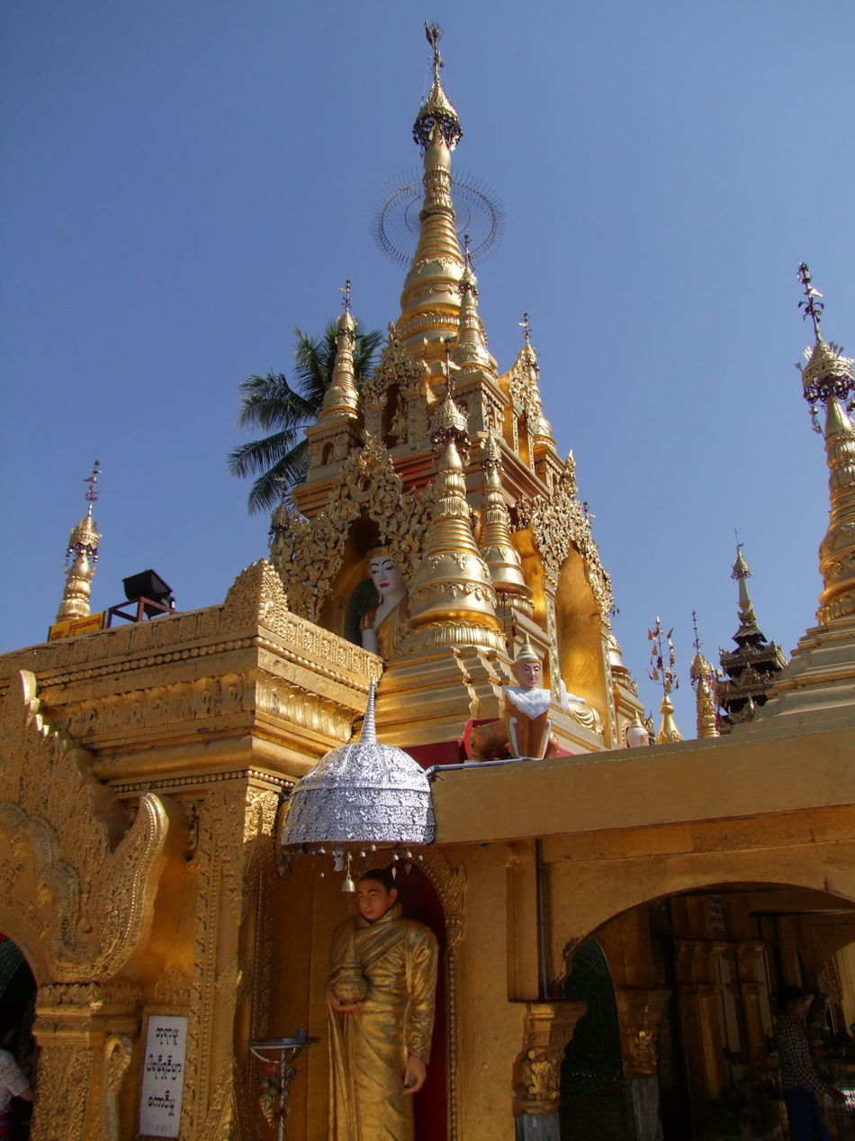 Yaylel Pagoda Blue Sky Buddhism Buddhist Architecture Buddhist Art Buddhist Culture Buddhist Pagoda Buddhist Temple Composition Full Frame Gold Colour Gold Stupas Myanmar No People Outdoor Photography Palm Tree Place Of Pilgrimage Place Of Prayer Place Of Worship Religion Spirituality Sunlight And Shade Thanlyin Tourist Attraction  Travel Destination Yaylel Pagoda