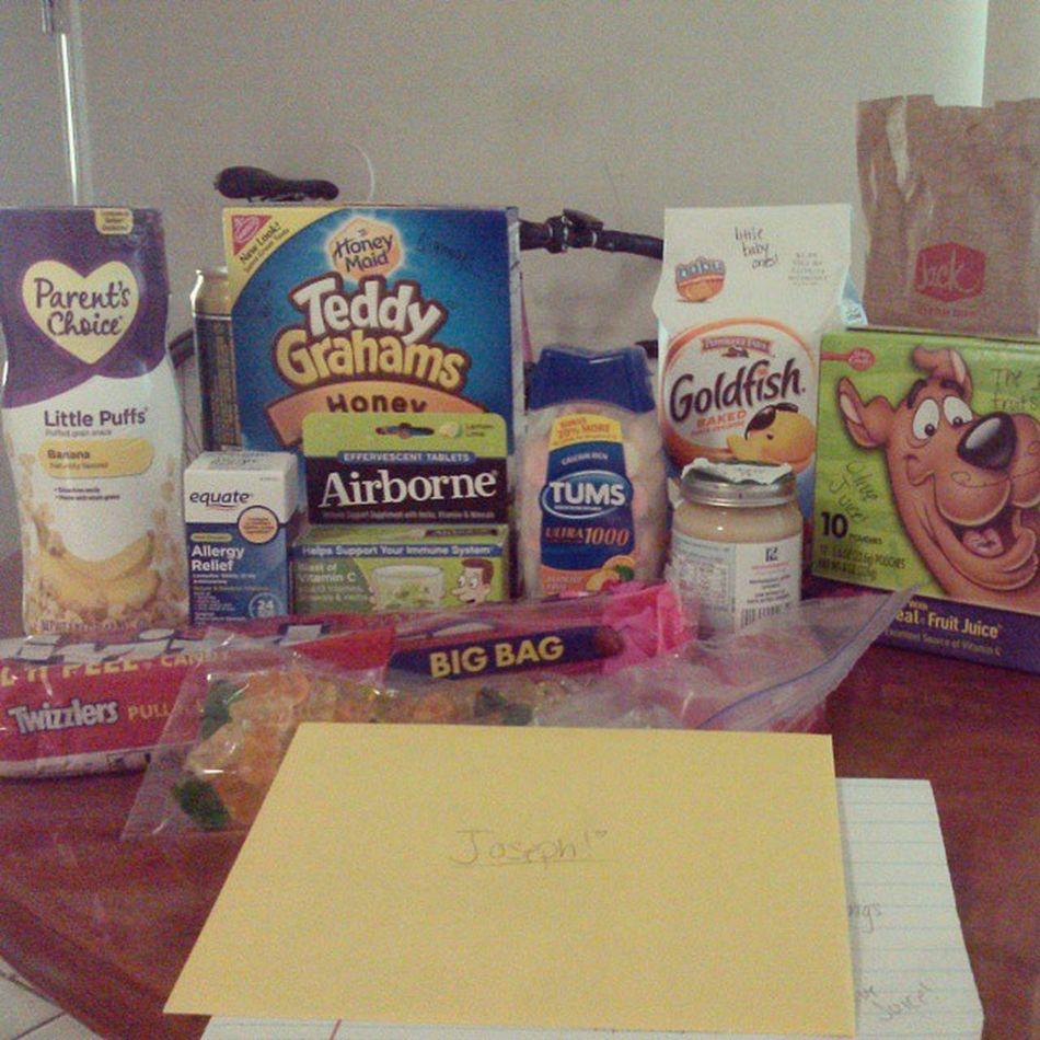 Best care package I've ever gotten. Ioppenedthebox Shesisthebestpersonever Fruitsnacks Tums goldfish babyfood love love love love love