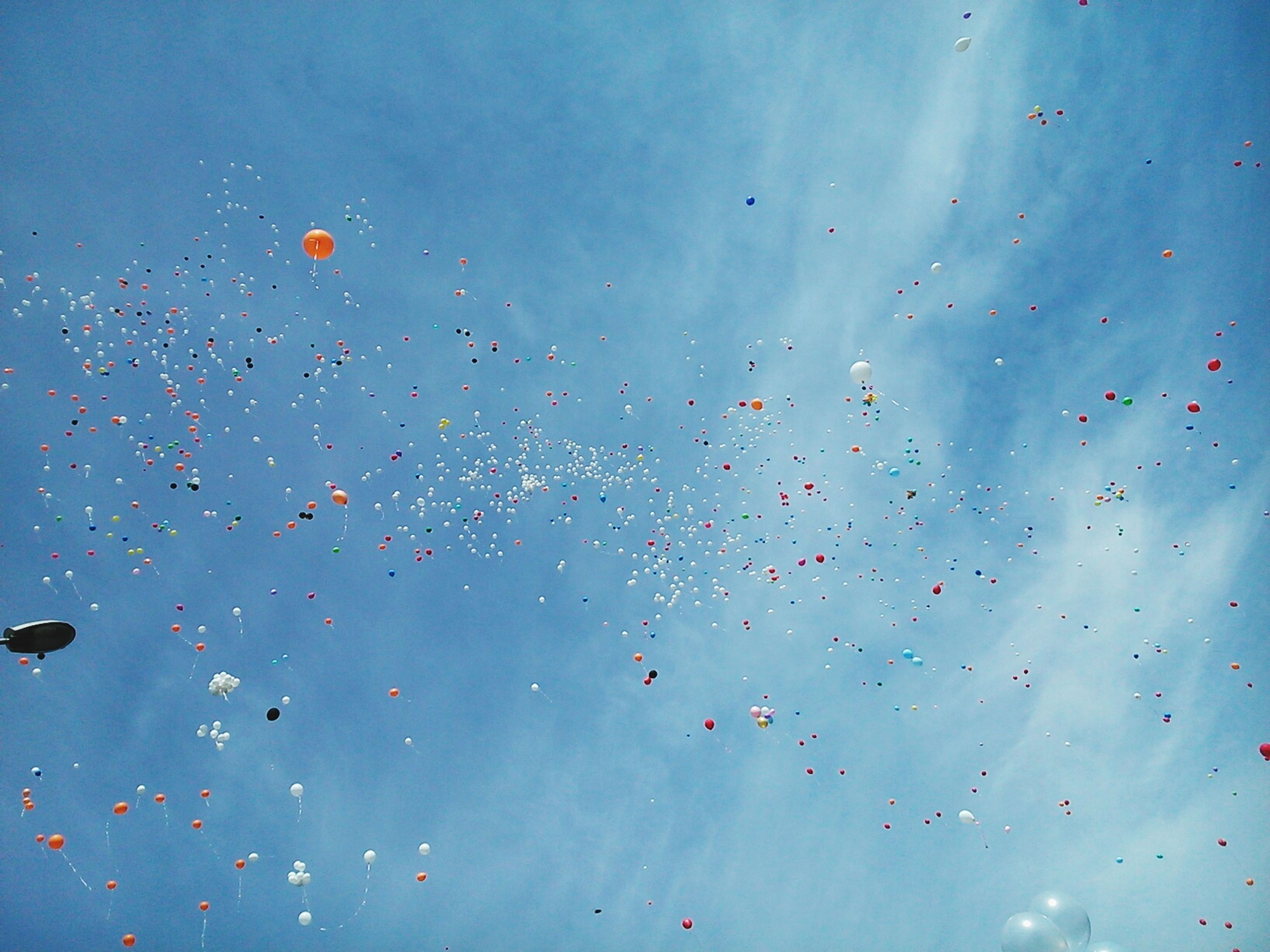 flying, low angle view, mid-air, flock of birds, sky, blue, animal themes, animals in the wild, bird, wildlife, nature, outdoors, day, motion, no people, beauty in nature, cloud - sky, multi colored, balloon