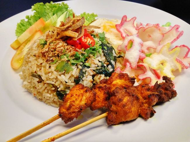 Spicy fried rice with chicken satay Food Ready-to-eat Healthy Eating Freshness Plate Meal Indoors  No People Close-up Fried Rice Chili  Spicy Malaysian Local Food Cuisine Tasty Delicious Foods Chicken Satay Salad Presentation