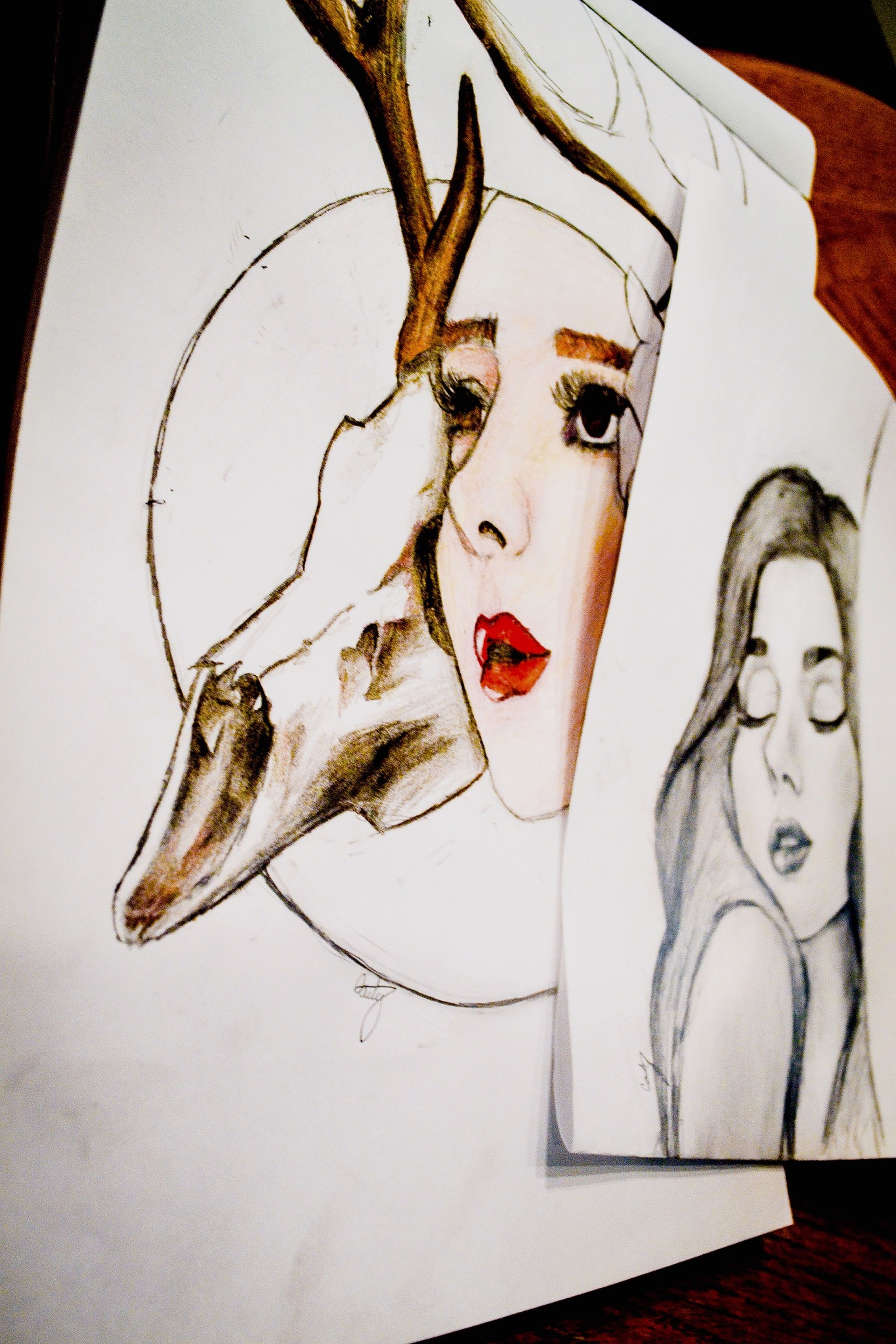 Messing around with color It's Not Easy :( Serial Doodler Deer Skull Drawing Color Bored Girl Hard Doodle Art
