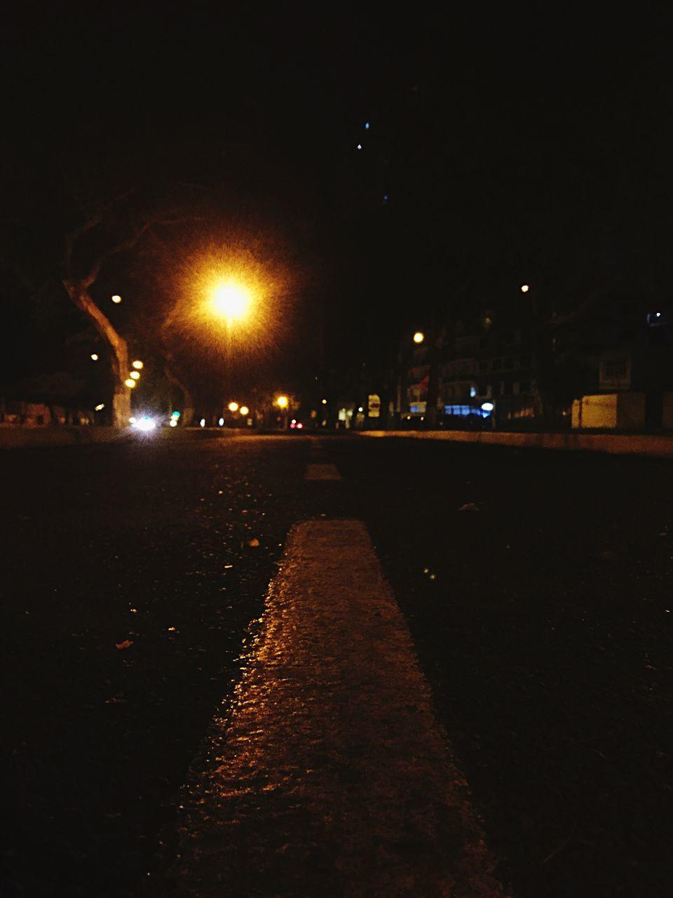 night, illuminated, street light, road, street, outdoors, no people, sky, city, architecture