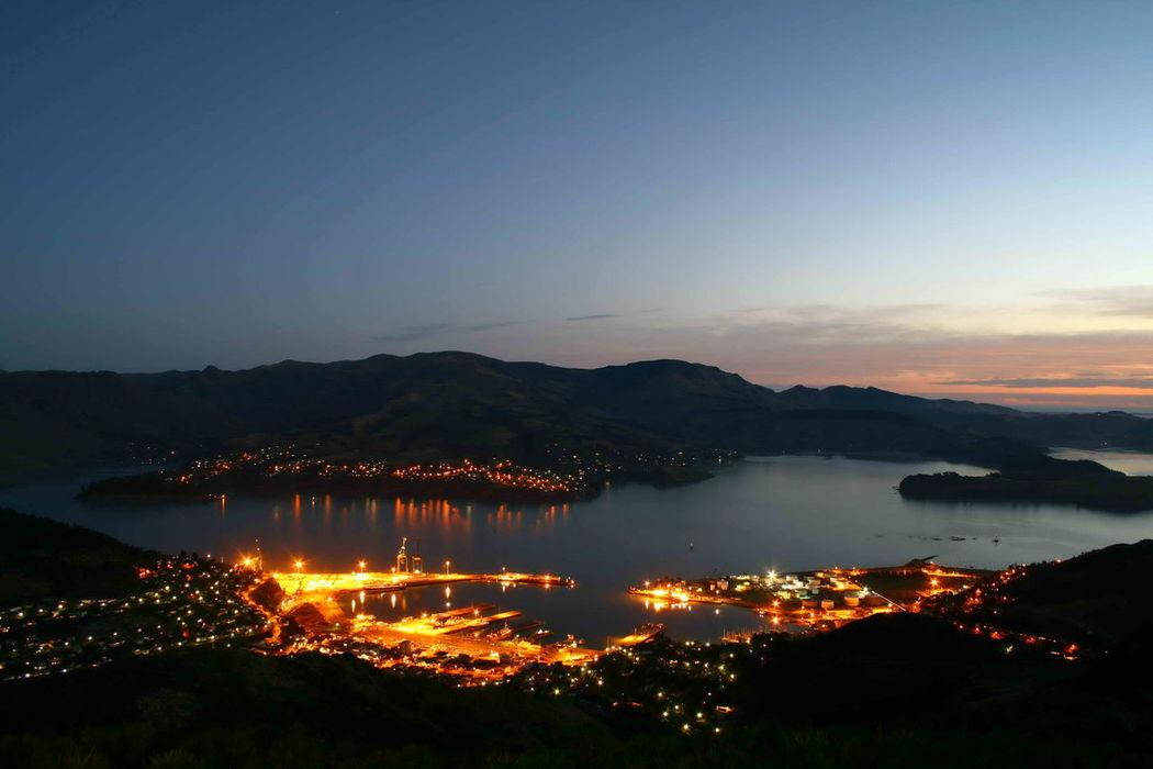New-Zealand Cityscape Night Sky Illuminated Nature Outdoors Lyttleton Harbour