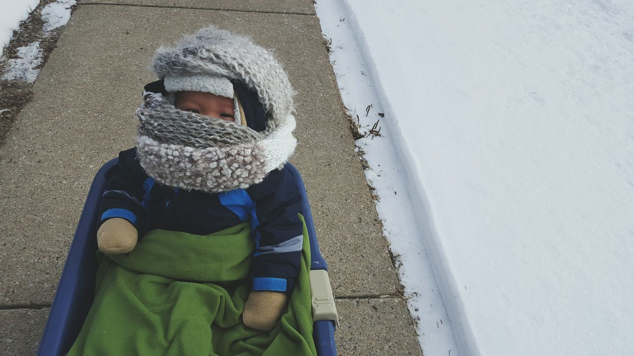 Wagon  Winterwonderland Outside Snow Winter Adventure Cold Child Cute Kids Asian  Boy Son Baby Scarf Cantsee