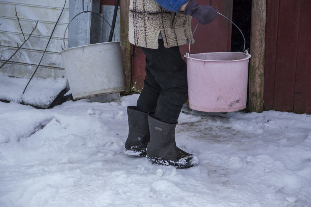 Farm Cold Cold Temperature One Person Outdoors Rural Life Rural Lifestyle Snow Village Life Village View Working