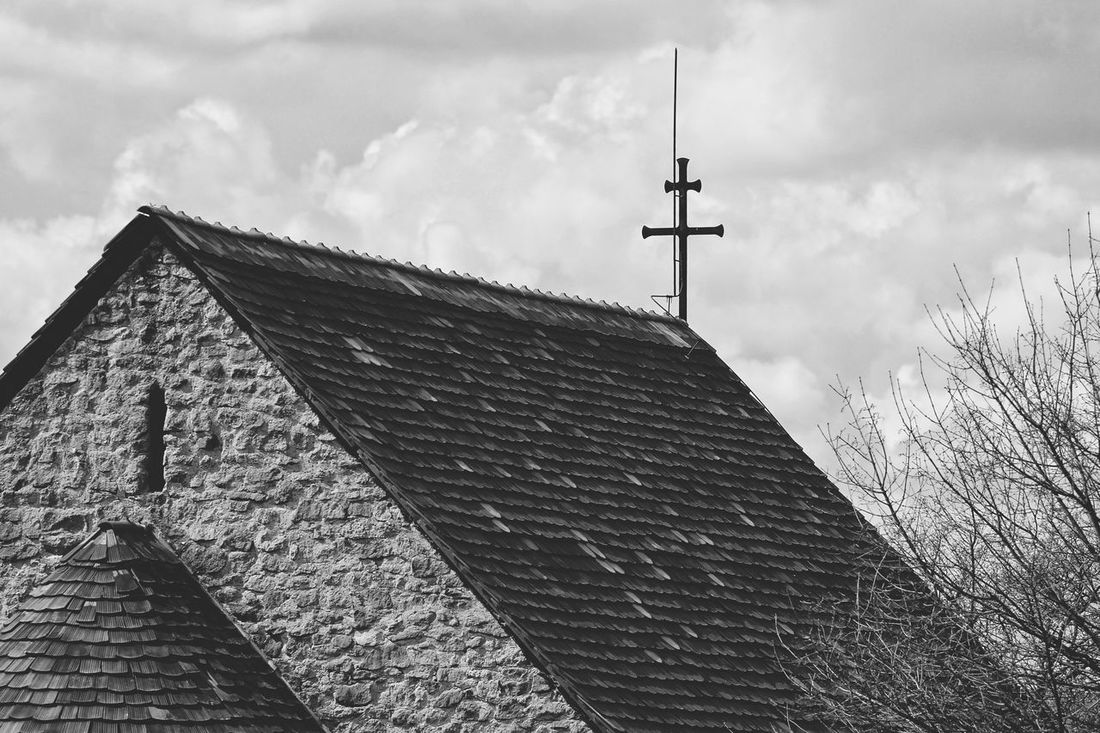 Architecture Black & White Black And White Blackandwhite Building Exterior Built Structure Church Cloud - Sky Cloudy Cross House Monoart Monochrome No People Place Of Worship Religion Rod Roof Sky