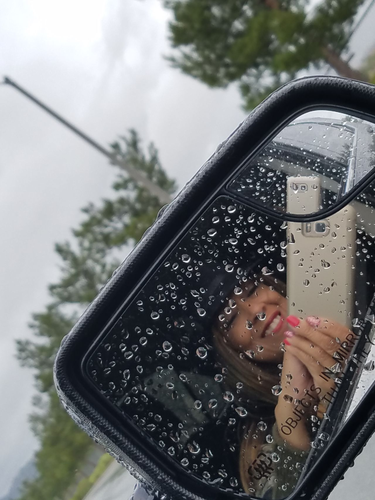 One Woman Only Beautiful Day Enjoying Life Selfie Rainy Day Side Mirror On Car