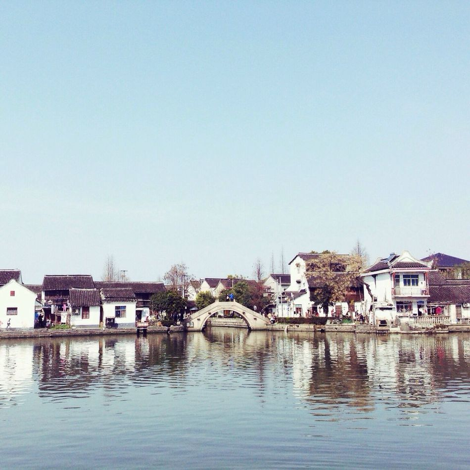 Water Built Structure Waterfront Clear Sky Tree Village Reflection Zhujiajiao Shanghai China