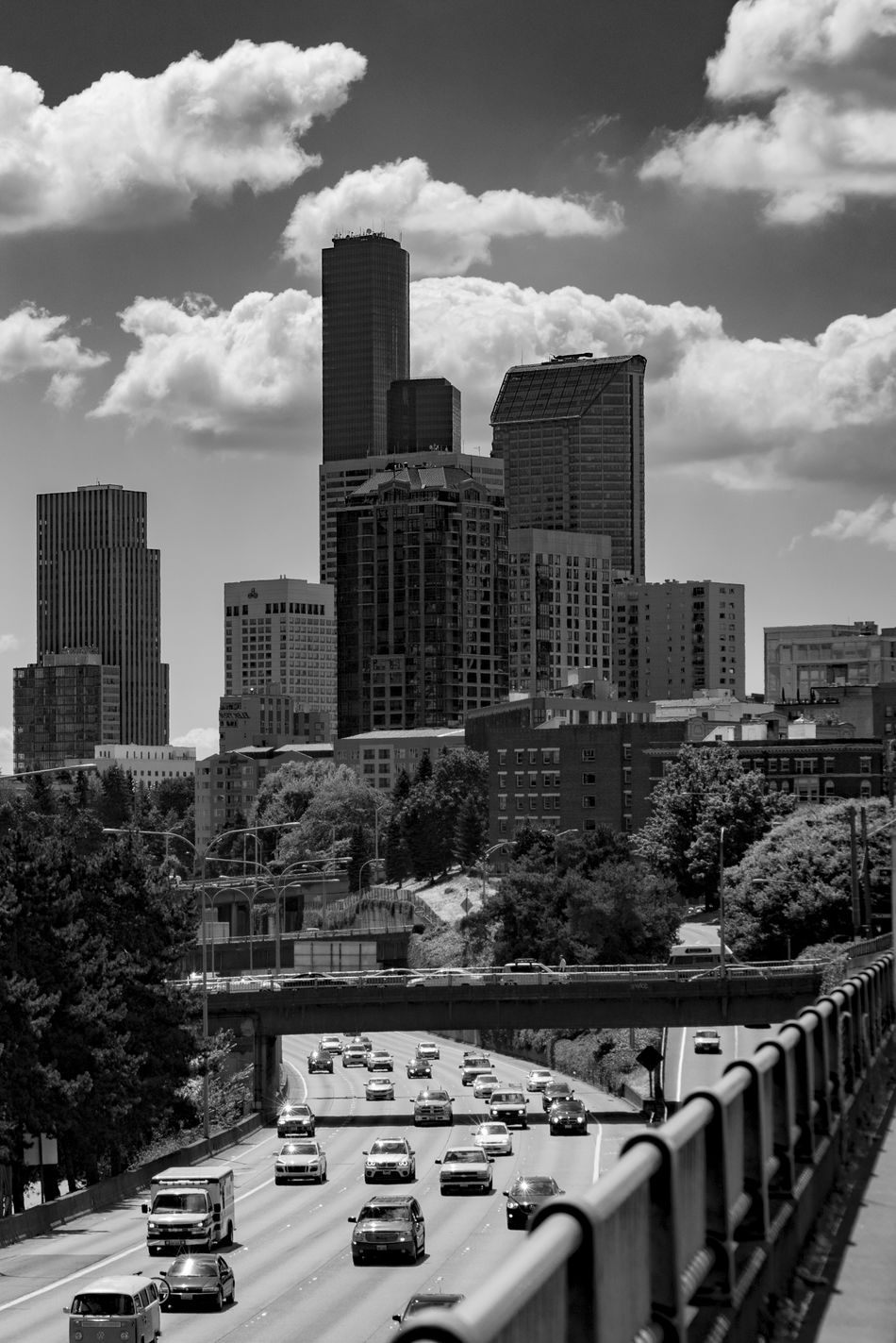 Black and white Seattle Washington with highway traffic. Architecture Building Exterior Built Structure Car City Cityscape Cloud - Sky Day Land Vehicle Modern No People Outdoors Sky Skyscraper Transportation Travel Destinations Tree Urban Skyline