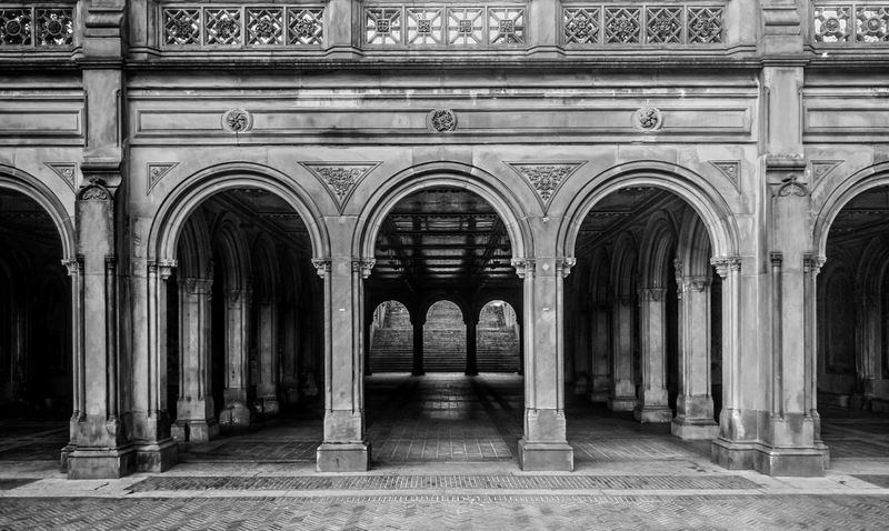 Bethesda Terrace Arcade 4 Arch Architectural Column Architectural Feature Architecture Bethesda Terrace Black & White Black And White Blackandwhite Building Built Structure Central Park CentralPark Column Day Diminishing Perspective Empty Façade Historic In A Row No People Ornate Outdoors Repetition Side By Side Travel Destinations