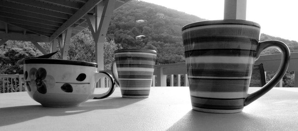Coffee time! There's nothing better, no matter what time it is and where you are. Cups And Mugs Morning Shadows Black And White Scenery Vacations Photography
