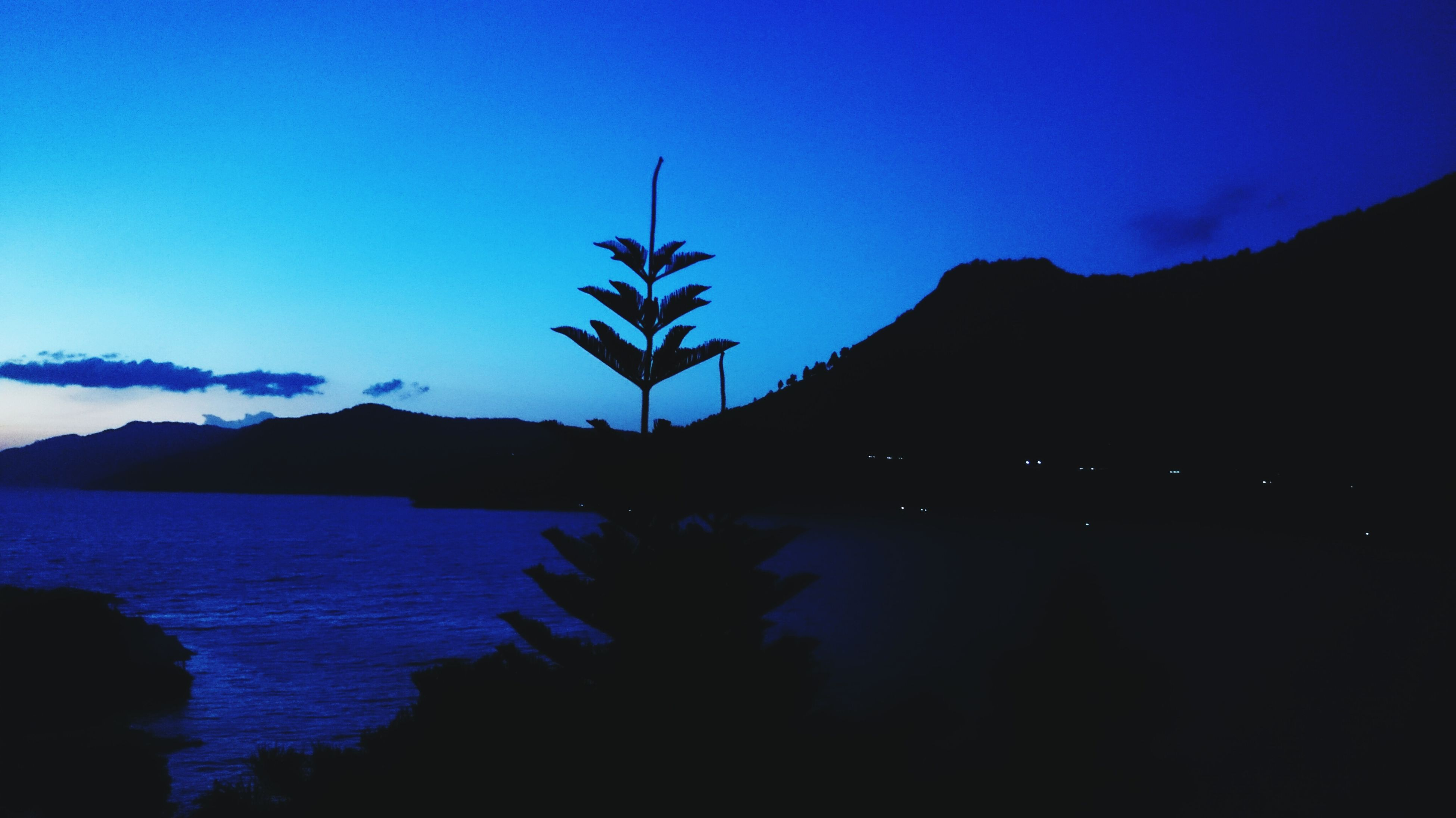mountain, clear sky, tranquil scene, blue, tranquility, copy space, beauty in nature, scenics, nature, mountain range, water, lake, night, silhouette, dusk, tree, plant, idyllic, growth, sky